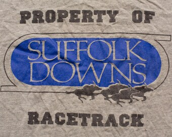 Suffolk Downs Racetrack T-Shirt, Boston Horse Racing Track, Vintage 80s