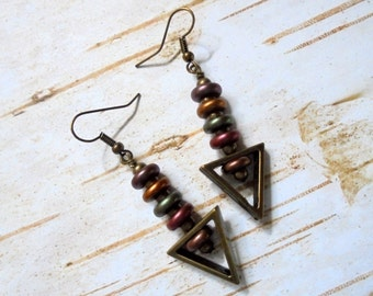 Gold, Green, Mauve, Purple and Brass Downward Arrow Earrings (2950)