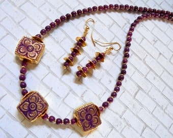 Dark Lavender and Gold Ceramic Flower Necklace and Earrings (2646)
