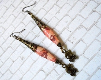 Long Pink Camoflauge Brass Filigree Girly Skull Earrings (2690)