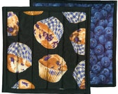 Blueberry Muffin Potholder, handmade quilted potholder kitchen