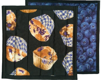 Blueberry Muffin Potholder, handmade quilted pot holder kitchen