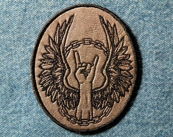 """Rock On Iron on Patch on Leather 4"""" x 3.25"""""""