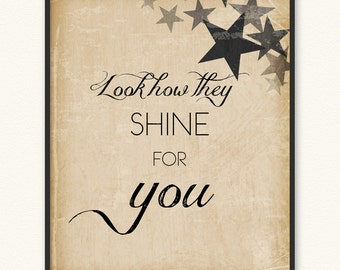 Look How They Shine for You • Art Print • Coldplay Yellow Look at the Stars