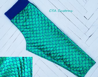 Mermaid scales capri length girls leggings size 4 4T green blue mermaid leggings toddler leggings spring leggings summer leggings