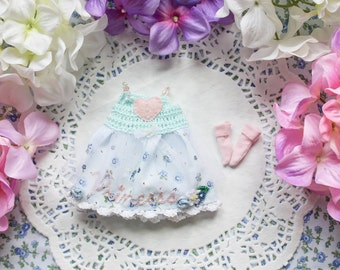 Flower Princess dress and socks set - [ Blythe / Pullip / Licca / Pure Neemo ]