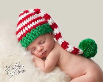 Newborn Christmas Hat/ Crochet Stocking Cap/Baby Boy Prop/ Baby Girl Prop/ Newborn Pixie Hat/ Baby Elf Hat/2 week turn around/ Newborn Baby