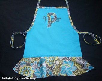 PERSONALIZED Girls Apron- Childs Play Apron -Cooking Apron- Turquoise Blue, Charcoal Gray with Appliqued Initial