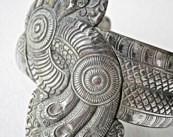 Antique Indochina Silver Bracelet Rare Signed Jewelry Artist Signed Silver Cuff Bracelet Antique Artisan Asian Silver Cuff Bracelet