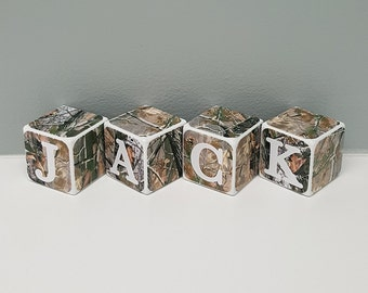 Personalized Baby Shower Gift, Personalized Wooden Baby Blocks, Camo Baby Name Blocks