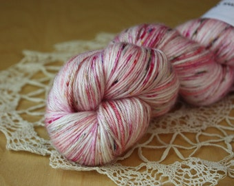 Hand Dyed Yarn / Fingering Weight / Speckled Speckles Pink Rose Magenta Sixteen Candles / Silk Merino Wool