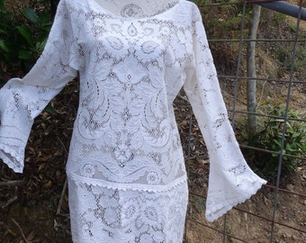 hippy creamy vintage lace tunic, bohemian dress. large, XL
