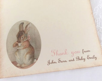 Bunny Tea Party Thank You Cards Baby Shower Birthday Personalized
