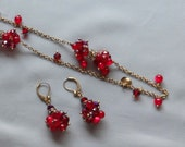 Vintage COLDWATER CREEK Red Glass Bead / Rhinestone Roundel Necklace & Earring Set
