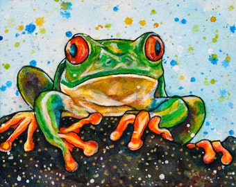 Little Frog Watercolour Painting
