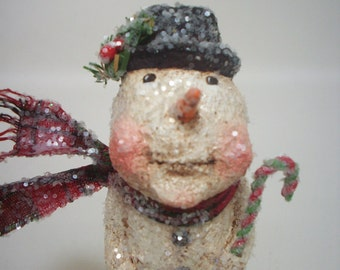 Snowman Paper Mache Folk Art Whimsical Rustic