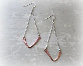 Asymmetrical Earrings, Hammered Copper Earrings, Chandelier Earrings, Mixed Metal Earrings, Southwestern Jewelry, Chevron Earrings