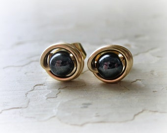 Hematite Stud Earrings, Gold Studs, Black Post Earrings, Black Stud Earrings, Tiny Stud Earrings, Hematite Posts, Wire Wrap Studs