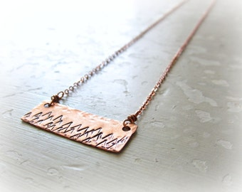 Mountain Necklace, Stamped Pendant, Copper Necklace, Hammered Pendant, Copper Jewelry, Metalwork Copper, Mountain Pendant, Copper Pendant