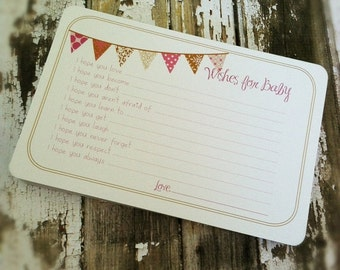 ON SALE Wishes for Baby Girl Cards - Unique Baby Shower Activity Game or Memory Book Idea - Pink and Brown