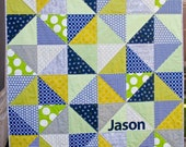 RESERVED for Haley - Custom Half Square Triangle Baby Quilt - Navy, Lime, Gray, and White