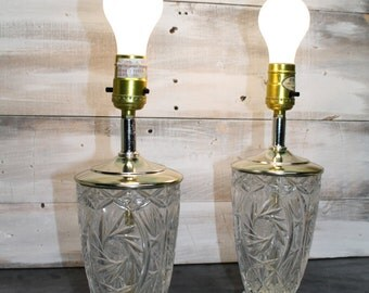 Pair of Vintage Crystal and Brass Lamps, Side Table Lamps, Glass Lamps, Night Stand Lamps, Living Room