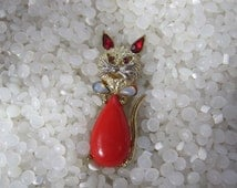 vintage cat pin, jelly belly pin, scatter pin