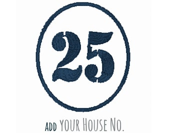 Modern House Number Plaque, Machine Embroidery, Personalised Gift