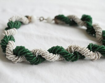 Emerald 1950s Costume Jewellery, Beaded Necklace from Paris