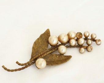 Pearla, French Vintage, 1950s Pearl Brooch, Pin, Jewelry,  from Paris