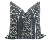 Mudcloth Pillow Cover - Printed Faded Black - Mudcloth Print - Decorative Pillow - Boho Pillow - Black and White Pillow - African Pillow