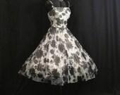 Vintage 1950's 50s Bombshell Black White Floral Print Chiffon Organza Party Prom Wedding DRESS Medium Size