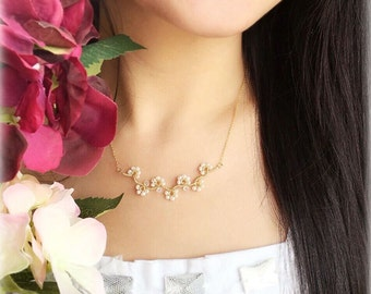 Plum Blossom White Pearl Necklace-Wire Wrapped Pearls -14K Gold Filled Necklace-Made to Order