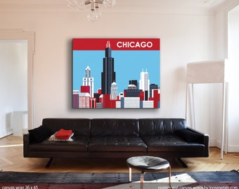 Chicago Canvas Wrap Print, Chicago Skyline Canvas Art, Large Canvas Print, 36 x 45 Large Wall Decor, Loose Petals Canvas, style WC-36-CH12