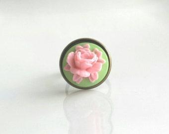 Pink Flower Ring - large cabbage rose open bloom on green adjustable antique brass / bronze band - vintage style 3D resin - size 6 7 8 9