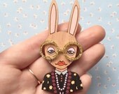 Wooden Hand Painted Iris Bunny Brooch with Gold Glasses