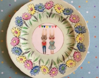 Hipster Bunnies with Bunting and Daisies Floral Vintage Illustrated Plate