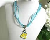 Blue Necklace With Snow White Princess Charm girls teens womens princess charm