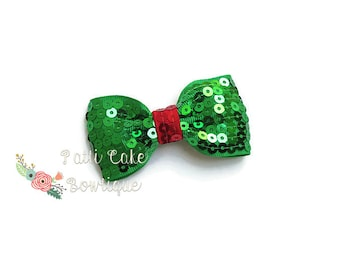 Green Sequin Bow, Green Bow, Baby Hair Bow, Baby Hair Clip, Christmas Bow, Girls Hair Bow, Holiday Hair Bow Clip, Sequin Bow, Sparkle Bow