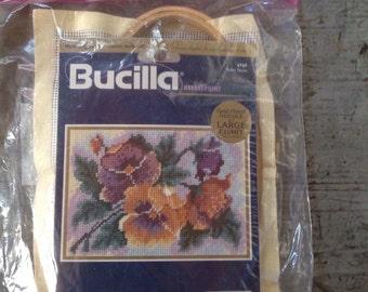 Vintage Bucilla Needlepoint Kit 4769 Perfect Pansies