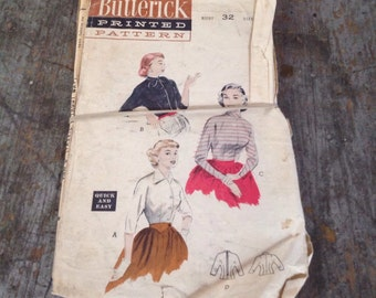 Vintage Butterick Sewing Pattern 6649 Misses' Size 14 Bust 32 Wing Sleeve Blouse