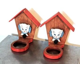 vintage cat feeders - 1950s-60s wooden painted cat bowl holders set of 2