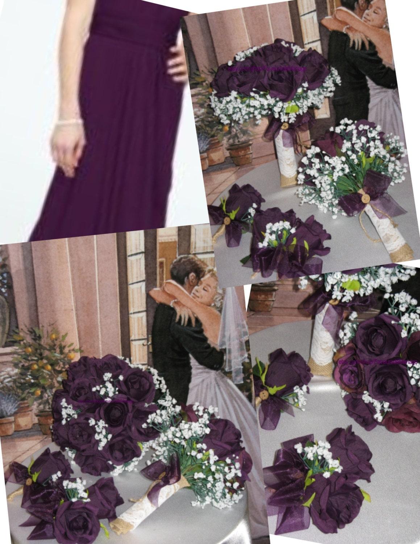 Rustic Plum Bridal Bouquet Silk Plum Wedding Flowers Burlap Plum
