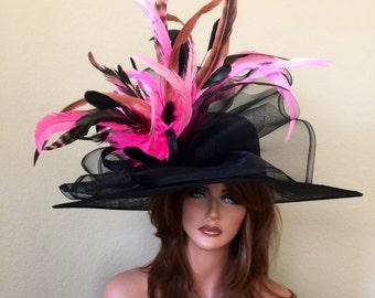 Black Pink Wide Brim Hat Kentucky Derby   -Wedding-  - Sinamay - Races -