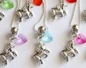 Unicorn Party Favor Necklace, 10 + Necklaces Unicorn with Acrylic Heart, Kids Jewelry, Birthday Party, Kids Jewelry, Children Jewelry