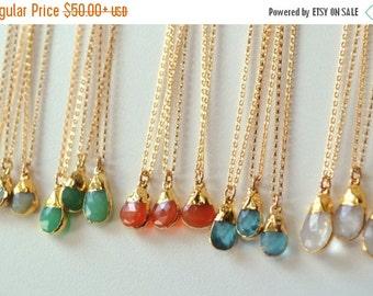 XMAS IN JULY Gems /// Dainty Gemstone Necklace /// Gold