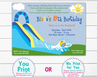 Waterslide party birthday invitation -- pool party - waterslide - pool party