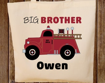 Big Brother Tote Bag Boys Tote Bag Fire truck tote bag