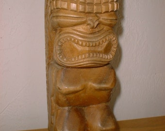 Wonderful Large Vintage TIKI God Wood Carving Polynesian Hawaiian