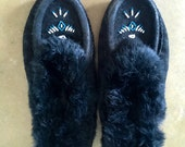 Black Fur Moccasins